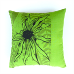 Lime, Olive and Black Cotton Cushion Cover