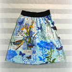 Size S or M Aline skirt blue birds letter print, stretch waist, Wanderlust Women