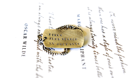Ring Bearer Gift Wedding Party Ideas Hand Stamped Dog Tag Gift Rustic Boy Gift