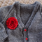 SIZE 6-12 mths - Hand knitted cardigan in sparkly grey with red buttons