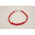 Red Czech glass bead and silver flower bracelet