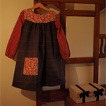 Size 7 girl's dress with vintage wool skirt