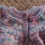 SIZE 1  years - Hand knitted baby cardigan/ jacket in pink/purple/blue/white.