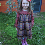 Size 6 girl's autumn winter dress with a woolly check skirt