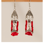 Fi Fi - Red glass beaded earrings with Red Czech glass trumpet flowers
