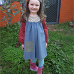 Size 6 girl's autumn / winter dress with a vintage pure wool skirt