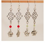 Silver Mother and Baby Elephant Earring with red or green bead