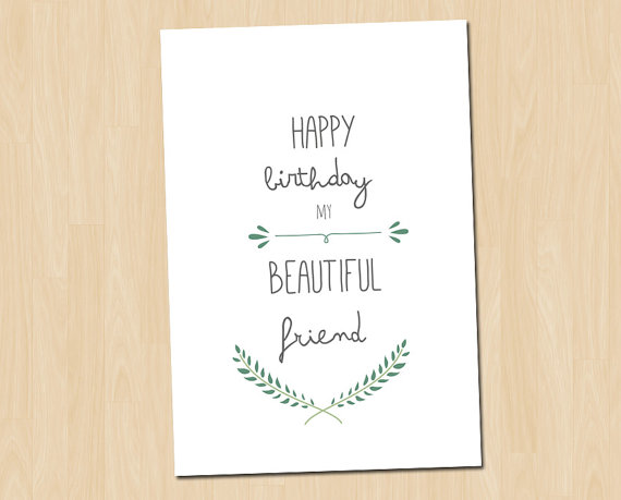 Best Friend Birthday Card Happy Birthday Card Greeting Card