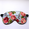 3 Layer Quilted Eye Mask - Floral Pink Rose Bouquet on Blue