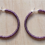PURPLE COLOUR BASICS HOOP EARRINGS - FREE SHIPPING WORLDWIDE