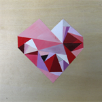 Original geometric heart painting on plywood board