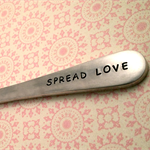 SPREAD LOVE Vintage Hand Punched Silver Knife. Wedding, Engagement Cutlery Gift.