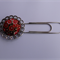 Vintage style silver paperclip bookmark - red flowers