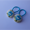 Set of 2 button elastics (19mm) - blue flower