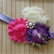 Shabby flower Headband with pearl embellished center.