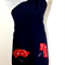 Japanese styled apron – red fans on navy