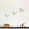 Trio of Flying Ducks – Green Check - Retro Wall Art Decal