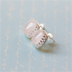 Vintage Rose Quartz Earrings. Silver. Stud or Post earrings.