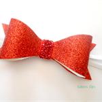 Red Glitter Bow Headband - Birthday
