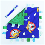 BLUE LOONEY TUNES Baby Security Blanket Blankie Taggie Toy + FREE Taggie Saver