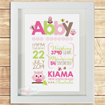 (PINK LIME & CHOC OWLS) personalised 8x10 BIRTH ANNOUNCEMENT unframed ART PRINT