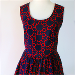 Ladies Dress, Tea Dress, Retro, navy, red, geometric.