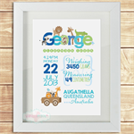 (SAFARI ANIMAL) personalised 8x10 BIRTH ANNOUNCEMENT unframed PRINT
