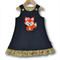 SIZE 3 Denim Applique Embroidered Pinafore - FOX