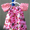 Size 0 to 3 months Baby's peasant dress Pink Owls with Pink Spots
