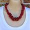 Red Crochet Wire Beaded Handmade OOAK Necklace by Top Shelf