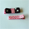 Handmade Pink & Black Bow Hair Clips - grosgrain ribbon, polka dot, retro