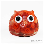 Cute Orange Mix Button Owl - Paperweight / Ornament - Solid Button Filled Resin