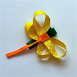 Handmade Dragonfly Hair Clip -grosgrain ribbon, alligator clip, yellow polka dot