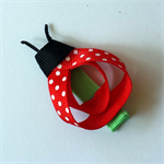 Handmade Ladybug Hair Clip - grosgrain ribbon, alligator clip, red polka dot