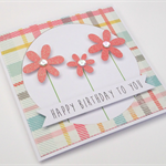 Handmade Birthday Card - Happy Birthday to you - Coral Glitter Flowers
