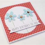 Handmade Birthday Card - Happy Birthday to you - Sky Blue Glitter Flowers
