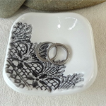 Black & white porcelain square ring dish, candle holder, ring holder. Ceramic.