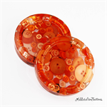 Orange Buttons Drink coasters / paperweights - 2 set - Resin