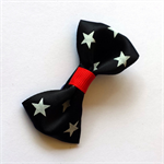 Handmade Black Bow Hair Clip - ribbon, alligator clip, star, rockabilly, retro
