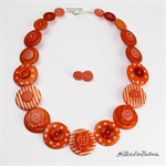 Orange Stripes - Button Necklace - Earrings - Jewellery