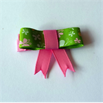 Handmade Lime Green & Pink Bow Hair Clip - grosgrain ribbon, butterfly