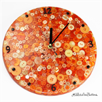 Tick Tock - Orange Sunshine Buttons Resin clock - silent motion
