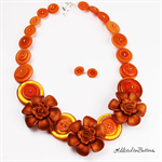 Roses are Red - Flowers - Red Buttons - Necklace - Earrings