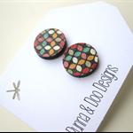 Geometric Patterned Wood Earrings.  Moroccan Inspired Stud Earrings.