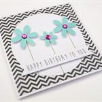 Handmade Birthday Card - Happy Birthday to you - Aqua Glitter Flowers