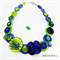 Lime Green and Blue - Flowers - Buttons - Necklace - Earrings
