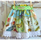 Girl Paper Bag Twirl Skirt - Dixie - Birds Butterflies Roses - Green & Yellow