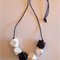 Hand painted geometric faceted wooden bead necklace. BLACK & WHITE colours