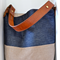 Large,Leather, Denim, Vintage, Blue, Earthy Upcycled Shoulder, Bucket Bag
