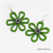 Green Daisy Stripe Button Wood -  Drop Dangle Earrings